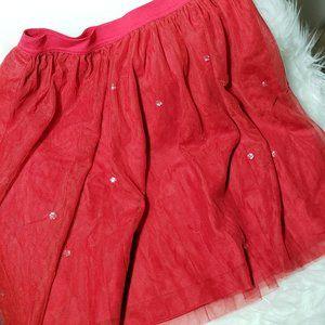 Girls Red Tulle Skirt Crystal Rhinestones